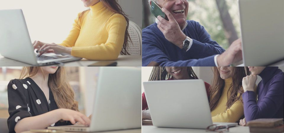collage of wine tasters on their computer