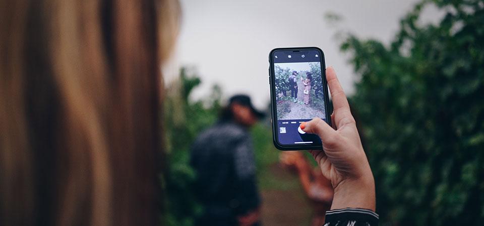 social media wine video on iphone