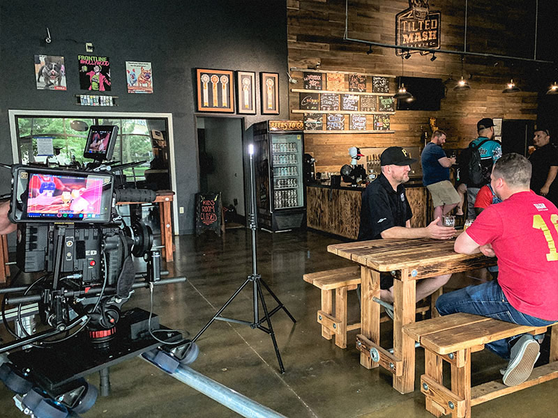friends on video at sacramento brewery