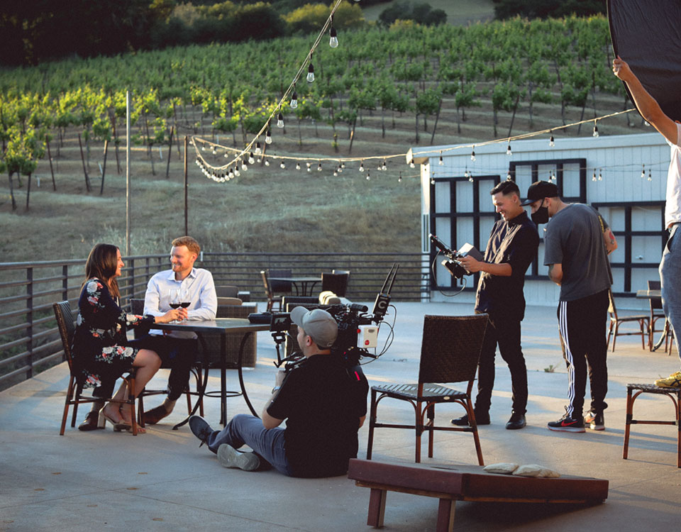 pour video team at winery