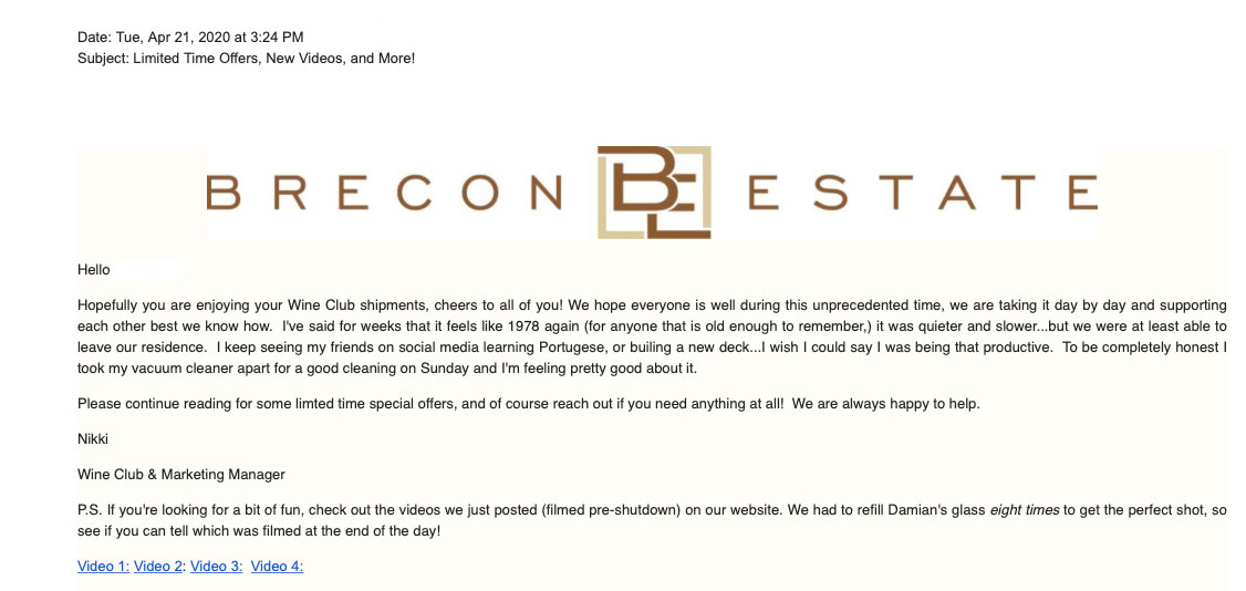 winery email example
