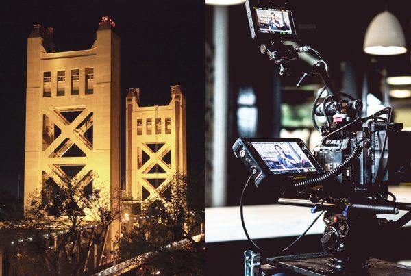 sacramento bridge with video production equipment